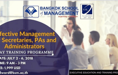 Date: July2nd-6th 2018Effective Management for Secretaries,PAs and Administrators