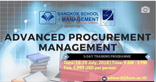 Date: July 16th – 20th  Advanced Procurement Management