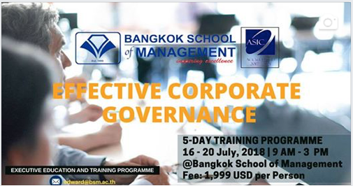 Date: July 16th – 20th  Effective Corporate Governance Training Programme