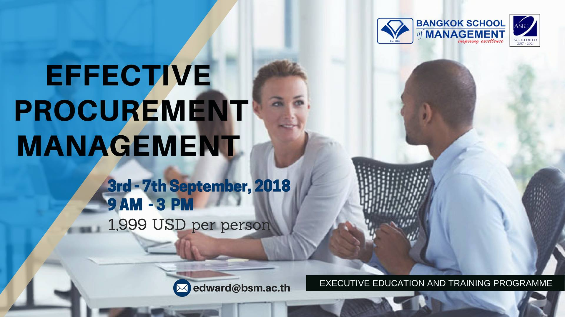 Date: September 3rd – 7th  Training Programme: Effective Procurement Management