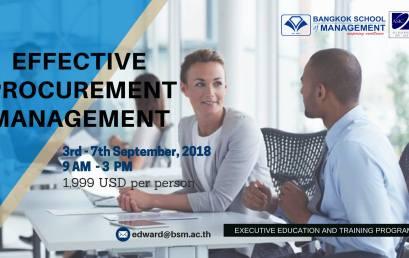 Date: September 3rd – 7th  Training Programme: Effective Procurement Management