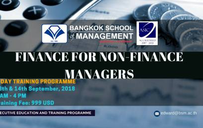 Date: September  13th – 14th  2-Day Training Programme: Finance for Non-Finance Managers