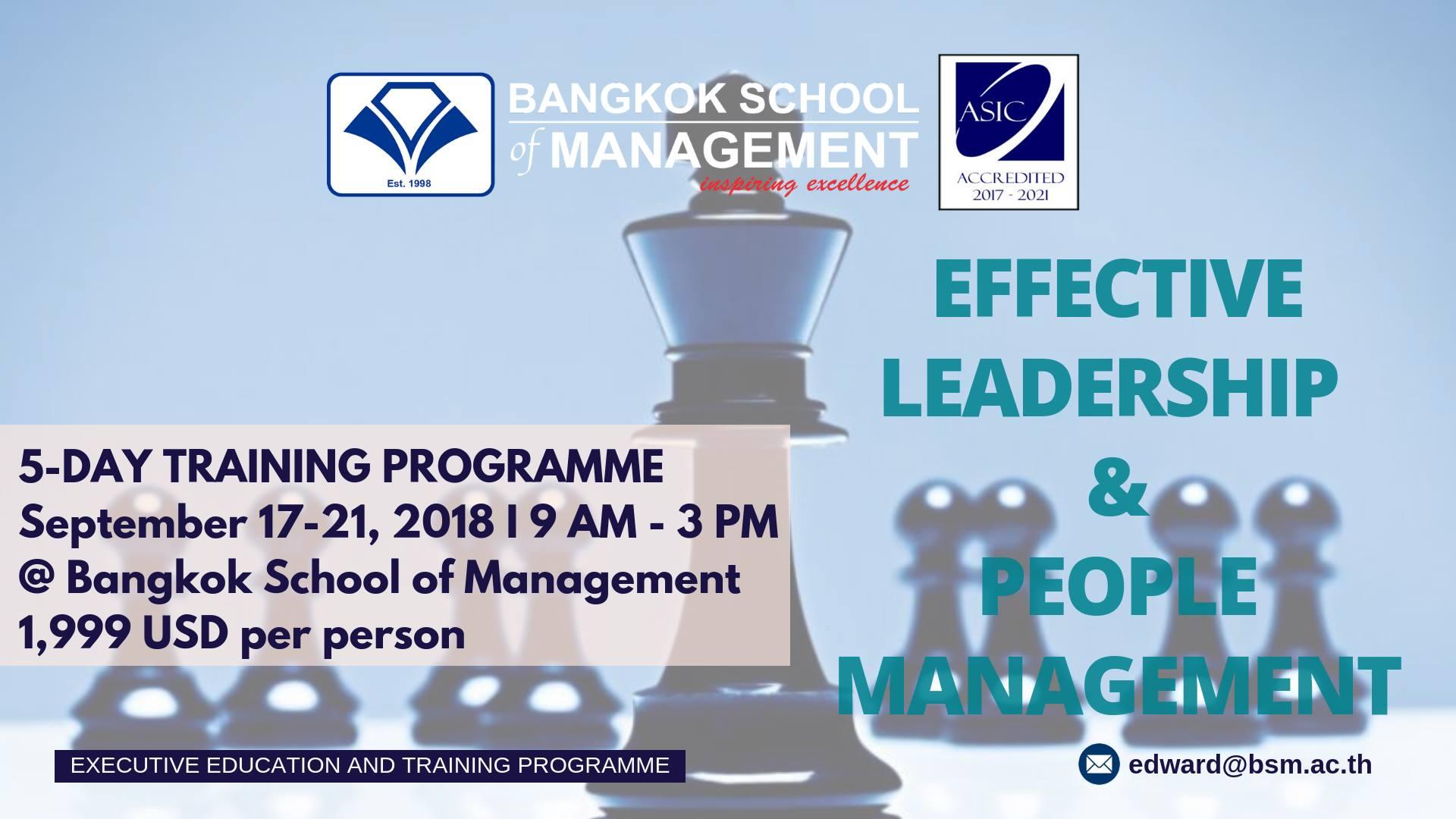 Date: September 17th &#8211; 21st </br></br>Training Programme: Effective Leadership &#038; People Management
