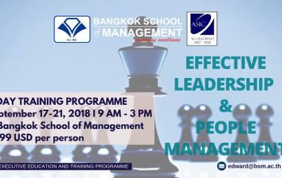 Date: September 17th – 21st Training Programme: Effective Leadership & People Management