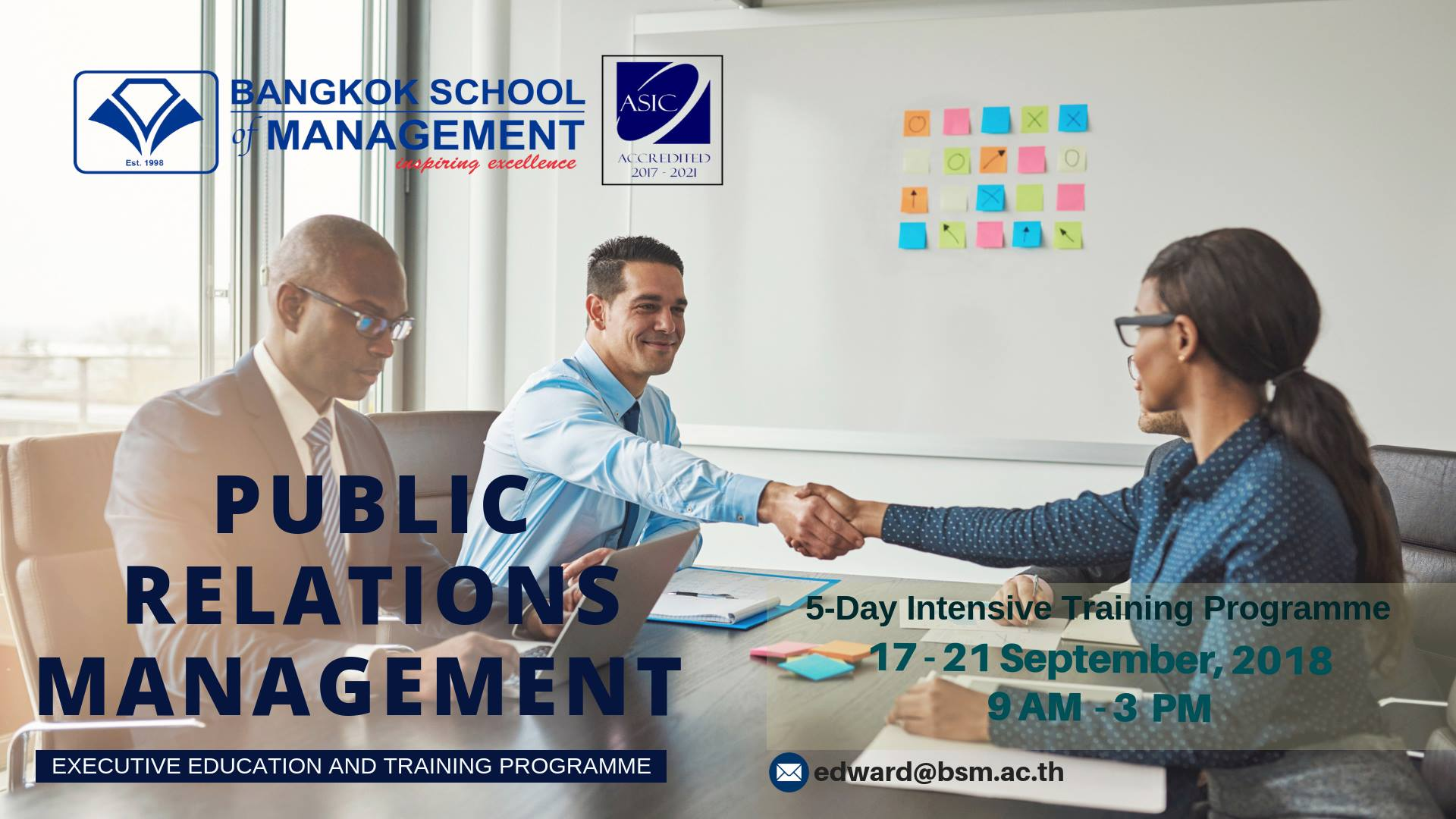 Date: September 17th – 21st Training Programme: Public Relations Management