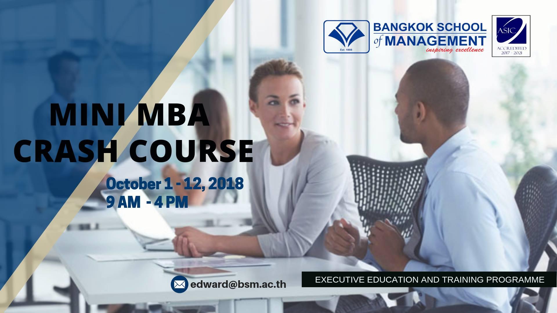 Date: October 1 &#8211; 12,2018 <br></br>MINI MBA Crash Course