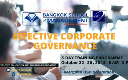 Date: October 22 – 26 Effective Corporate Governance