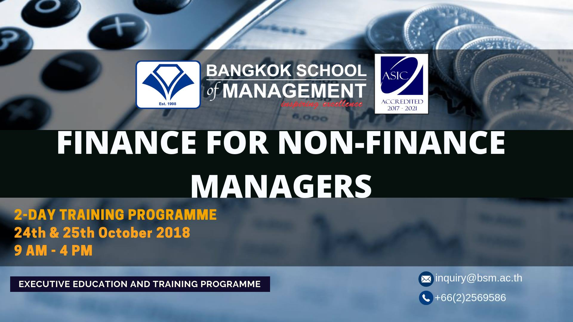 Date: October 24 – 25 Finance for Non-Finance Managers