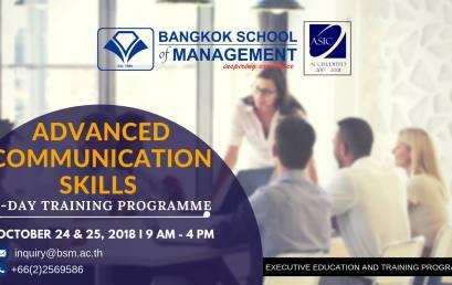 Date: October 24 – 25 Advanced Communication Skills