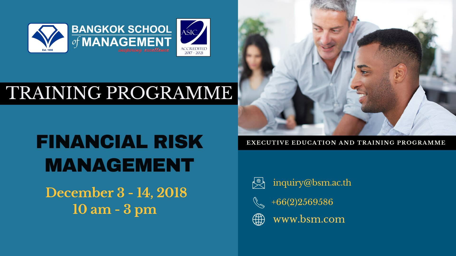 Date: December 3 &#8211; 14 <br></br> Financial Risk Management