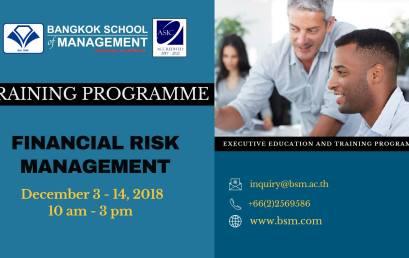 Date: December 3 – 14  Financial Risk Management