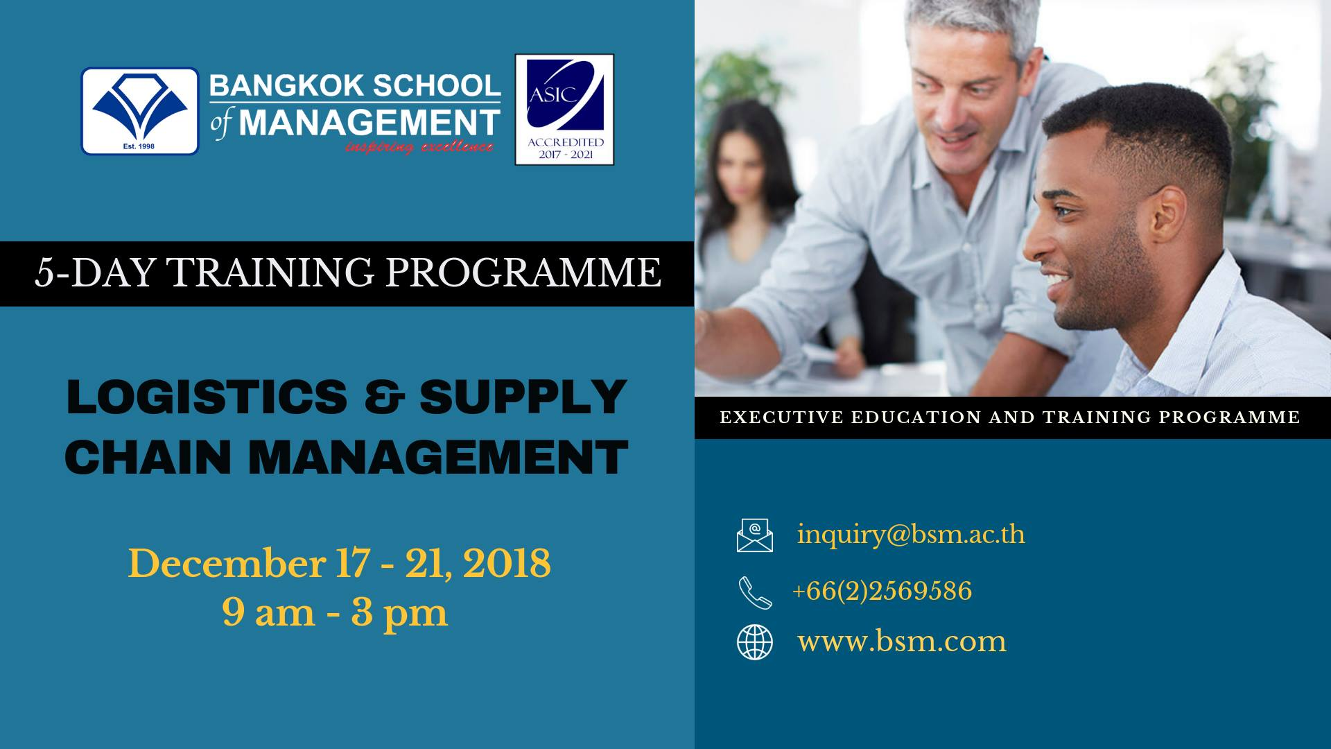 Date: December 17 – 21  Logistics & Supply Chain Management