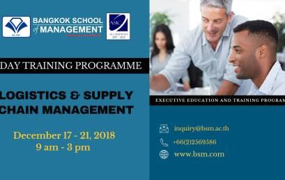 Date: December 17 – 21  Logistics & Supply Chain Management