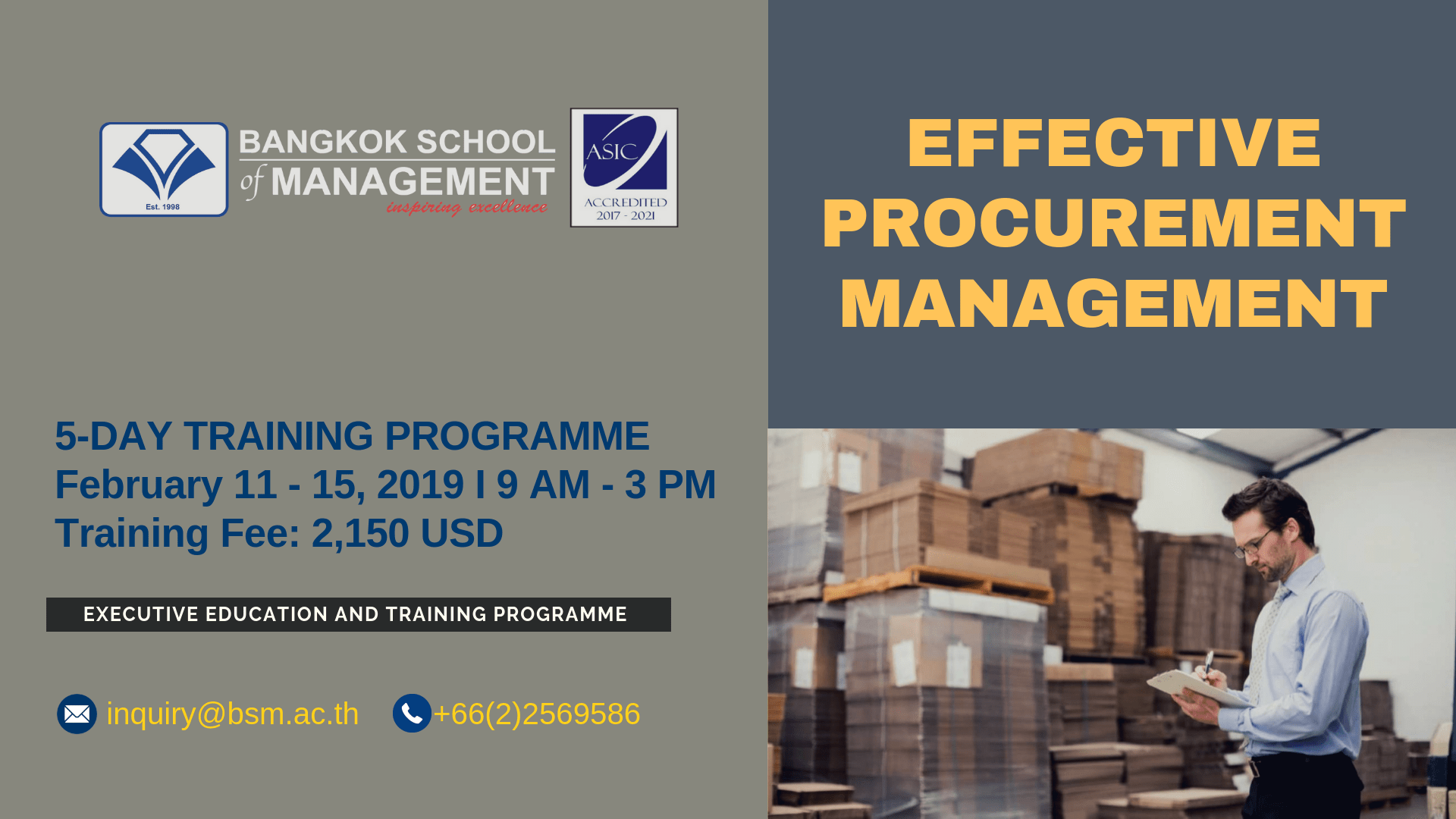Date: February 11 – 15, 2019  Effective Procurement Management