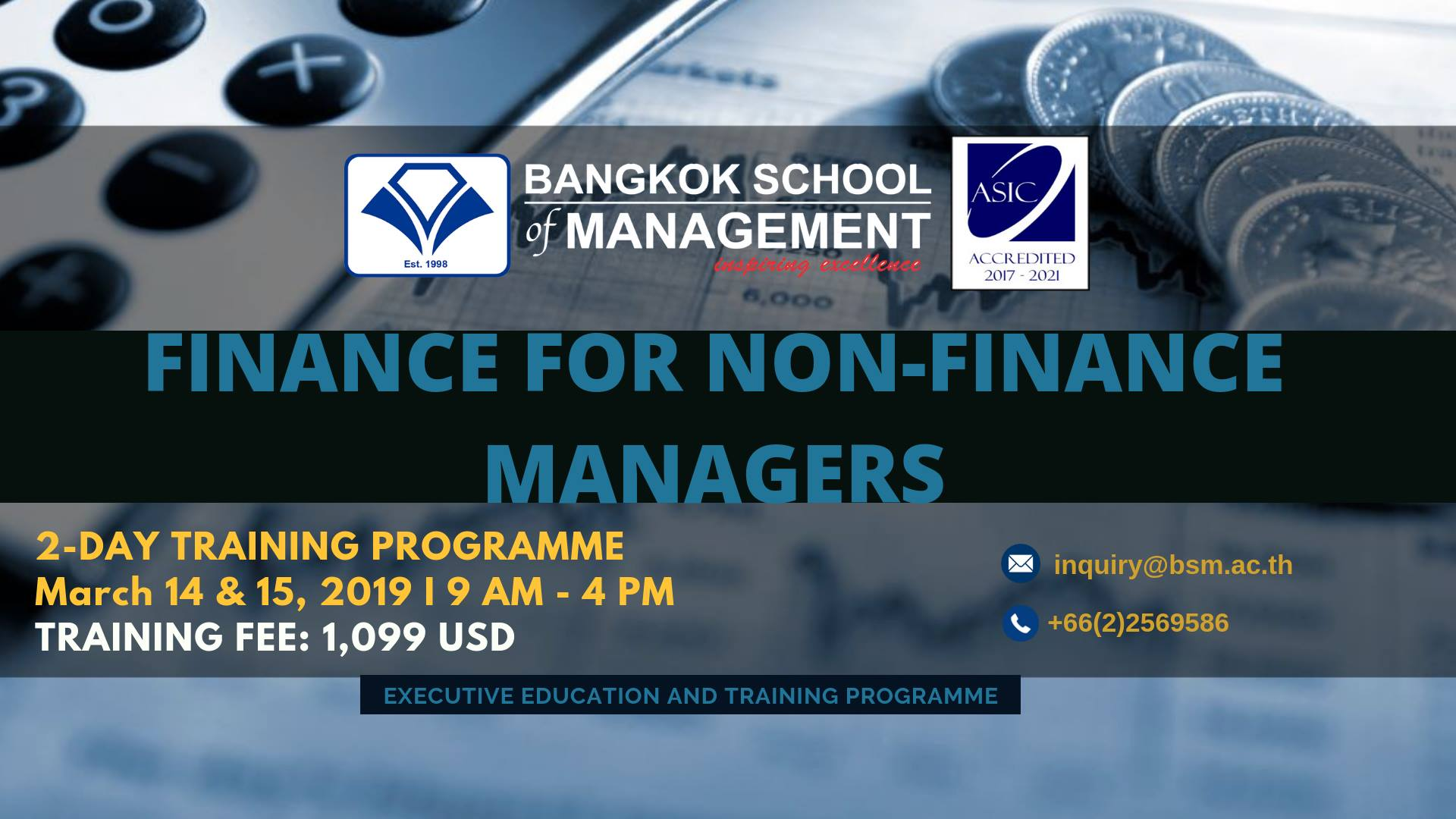 Date: March 14 & 15, 2019 Finance for Non-Finance Managers