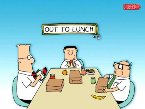 Almoço no escritório do Dilbert.