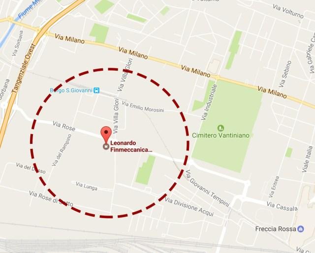 L'area interessata dalle operazioni di sgombero e messa in sicurezza per la bomba ritrovata a Brescia. www.bsnews.it