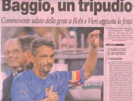 Gazzetta dello sport, una prima pagina dedicata a Roberto Baggio. Mito che ha giocato anche nel Brescia
