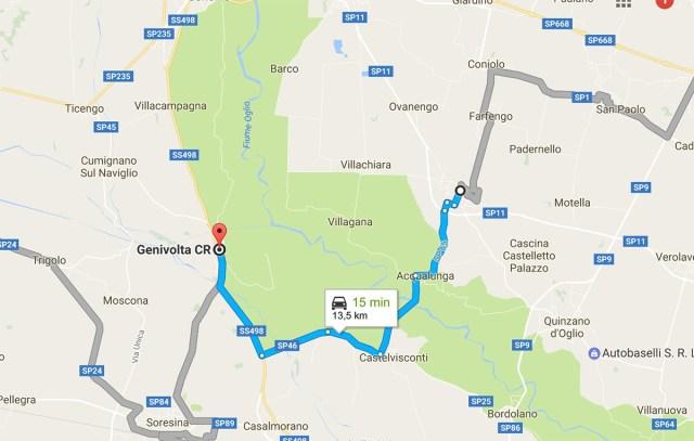 La mappa delle strade tra Borgo San Giacomo e Genivolta, dove è sparito Marco Sossi (il percorso esatto dell'uomo non è noto). Foto da Google Maps, www.bsnews.it