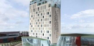 Il rendering dello Skyline 18, il grattacielo situato a pochi passi dal centro commerciale Freccia Rossa