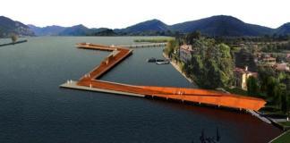 Un rendering che simula la futura passerella tra Sarnico e Clusane