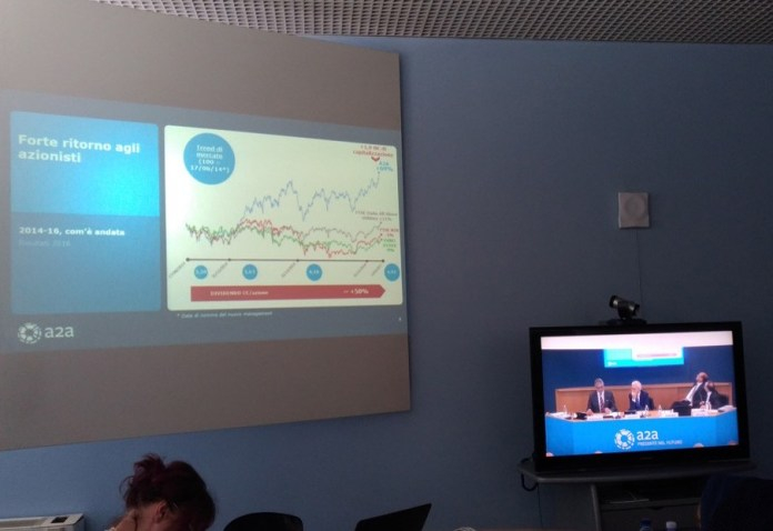 L'assemblea di A2A vista dalla sala stampa, foto Andrea Tortelli, www.bsnews.it