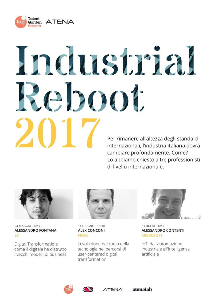Industrial reboot, un ciclo di eventi promosso da Atena Spa, Talent Garden e Gummy Industries