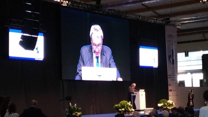 Giuseppe Pasini all'assemblea 2017 di Aib, foto Andrea Tortelli, www.bsnews.it