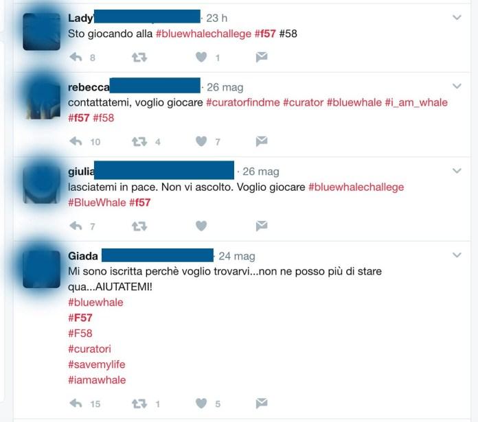 Cercando #f57 su Twitter di trovano decine di adolescenti che invocano il suicidio e the Blue Whale