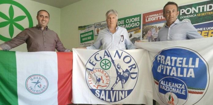"""Federico Casali, segretario della """"Lega Nord"""", Renato Treccani, segretario di """"Fratelli d'Italia"""" e Ivan Bertocchi, segretario di """"Ghedi Tricolore"""""""