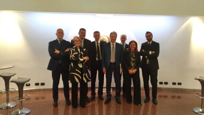Aib, il presidente Giuseppe Pasini con i vice e il direttore Nicolai alla conferenza stampa annuale, foto Andrea Tortelli, www.bsnews.it