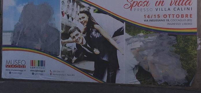 Il manifesto di Sposi in villa a Flero dopo il sabotaggio