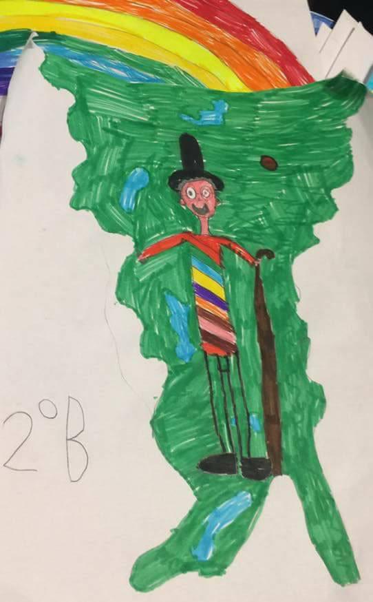 Il sindaco Emilio Del Bono nei disegni dei bambini, foto da Facebook