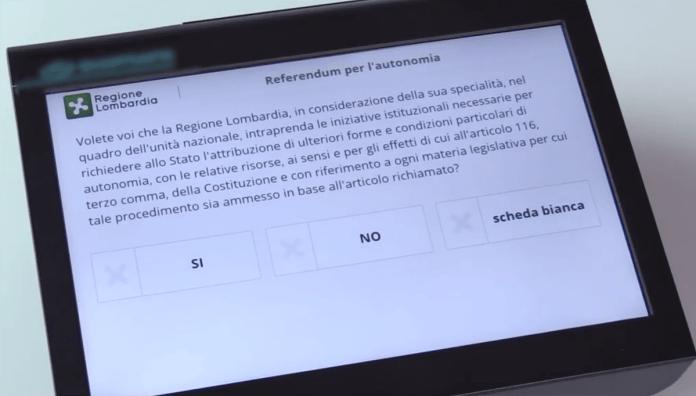 Il tablet con il quesito per votare sull'autonomia lombarda, www.bsnews.it