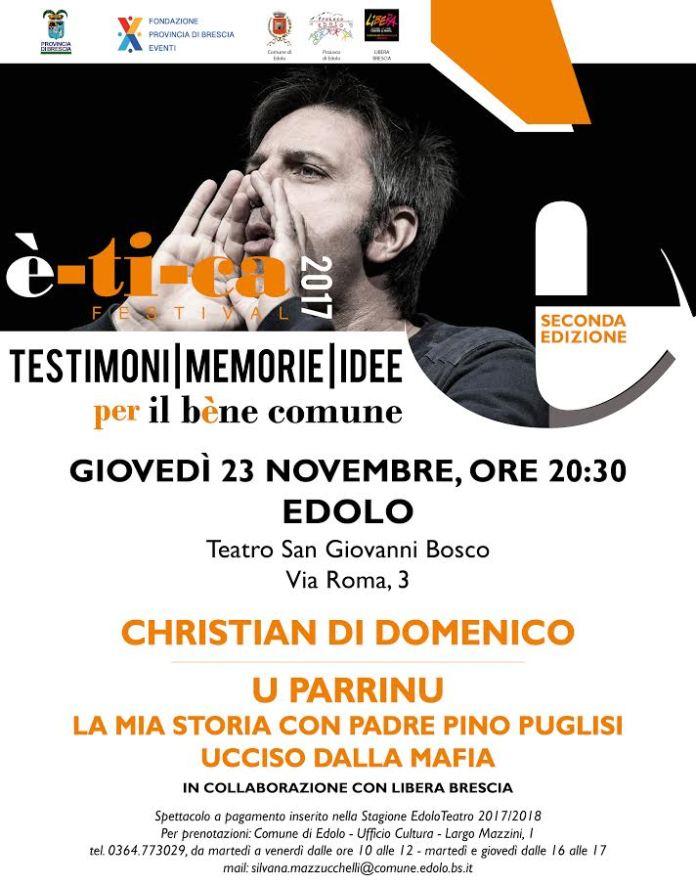 La locandina dell'evento con Christian Di Domenico a Edolo