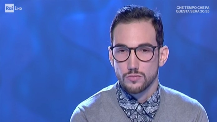 Il bresciano Emanuele Marini ripreso dalle telecamere di Rai1