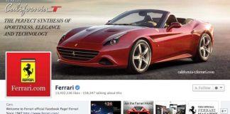 La pagina Facebook della Ferrari