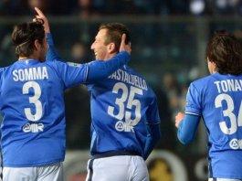 Gastaldello esulta dopo il gol del momentaneo 1-0 - foto da www.bresciacalcio.it