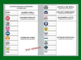 La scheda per le elezioni regionali della Lombardia del prossimo 4 marzo
