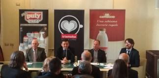 Il tavolo dei relatori della presentazione del Trismoka Challenge. Da sinistra: Piccioli, Ratti, Uberti e Riva