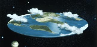 Una fantasiosa immagine di come sarebbe la terra piatta