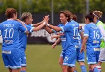 Le ragazze del Brescia Femminile esultano dopo il gol vittoria - foto da pagina Facebook Brescia Femminile