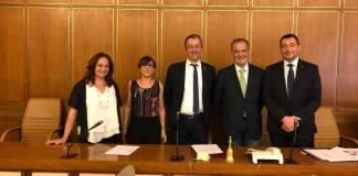 Il gruppo dei Senatori della Lega (Augussori Borghesi Calderoli Pirovano Saponara) nella Prima Commissione (Affari Costituzionali) appena insediata, al centro Stefano Borghesi, foto da Facebook