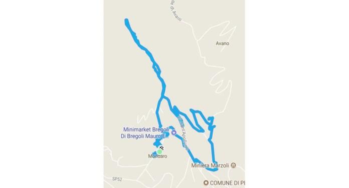 La mappa del breve tour nel Comune di Pezzaze