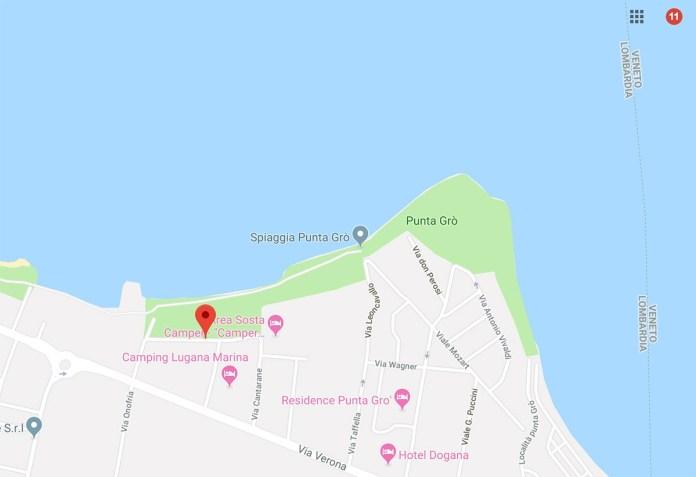 La mappa della zona di Cantarane di Sirmione, fonte Google