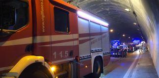 Intervento dei Vigili del fuoco in galleria