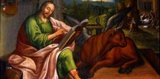 Un quadro che raffigura San Luca con il suo simbolo, il toro