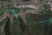 Veduta aere della zona in cui dovrebbe sorgere l'autostrada della Valtrompia