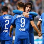 Donnarumma e Tonali dopo uno dei quattro gol rifilati all'Hellas - foto da www.bresciacalcio.it