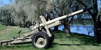 Un cannone da guerra, foto d'archivio